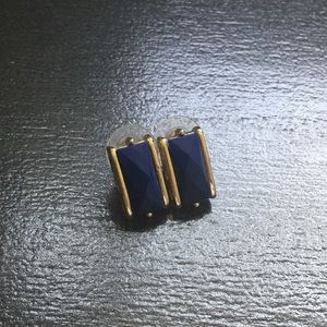 Blue Rectangle Earrings